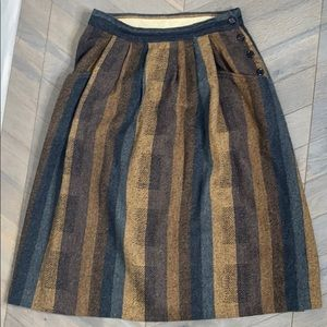 Vintage Union Made Striped Earth Tone Wool Skirt